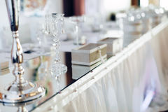 Wedding crystals on table Stock Photo