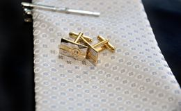 Wedding Cufflinks and tie Stock Photography