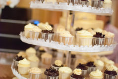 Wedding cup cakes on a multi-level tray Stock Image