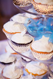 Wedding Cup Cakes with Star and Blue Ribbons Royalty Free Stock Photo