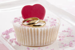 Wedding cupcake with red heart Royalty Free Stock Photography