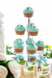 Wedding cupcake tower stand with turquoise cakes. Stock Photography