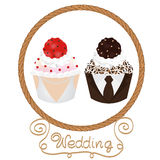 Wedding cupcakes bride and groom Royalty Free Stock Photo