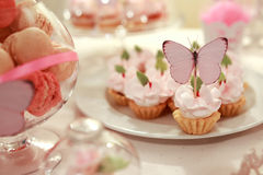 Wedding cupcakes. Butterfly and utensils. Celebration Royalty Free Stock Photos