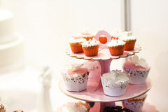Wedding cupcakes on event or reception party. Royalty Free Stock Photos