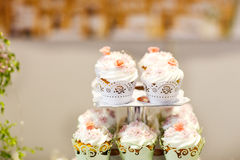 Wedding cupcakes on event or reception party. Stock Image