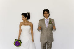 Wedding cuple playing detention Royalty Free Stock Images