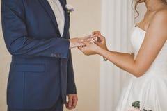 Wedding custom of exchange wedding rings 7696. Stock Photos