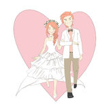 Wedding Cute Couple. Design Korean style. There is heart shape background Stock Illustration