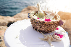 Wedding in cyprus, bride and groom on a stone bridge in Agia Napa. table for registration of marriage. The view of the Royalty Free Stock Images