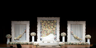 Wedding Dais or Altar on a stage, simple and elegant with white Stock Image
