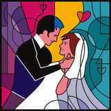 Wedding dance. Illustration of a couples getting married and have the wedding dance Royalty Free Stock Image