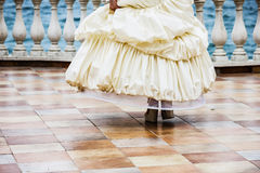 Wedding dance. Beautiful woman in white gown of the bride dance Royalty Free Stock Photography