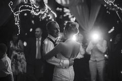Wedding dance. Of beautiful young newlywed couple royalty free stock photography