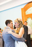 Wedding dance of bride and groom Royalty Free Stock Photo