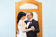 Wedding dance of bride and groom. First dance of bride and groom Stock Photos