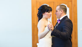 Wedding dance of bride and groom. First dance of bride and groom Royalty Free Stock Images