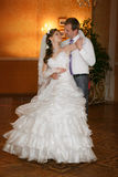 Wedding dance of bride and groom. Royalty Free Stock Photos