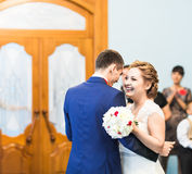 Wedding dance of bride and groom Royalty Free Stock Images
