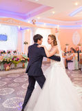 Wedding dance of bride and groom Royalty Free Stock Photos