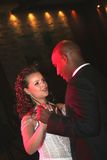 Wedding dance of a newly-married couple. Wedding of the European woman and Afro-American men Royalty Free Stock Photo