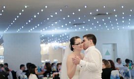 Wedding dance. Newlyweds dance at wedding party stock image