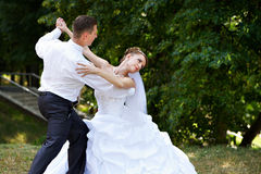 Wedding dance in park. Wedding dance the bride and groom in park Stock Photography