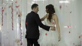 Wedding dance in restaurant stock footage