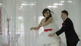 Wedding dance in restaurant stock video footage