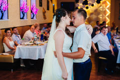 Wedding dance of young bride and groom in Royalty Free Stock Photo