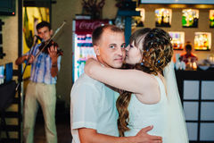 Wedding dance of young bride and groom in Stock Photo