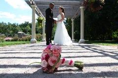 Wedding Day. A couple exchange vows on their wedding day Stock Photo