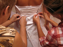 Wedding day. Bride is being prepared for her wonderfull day Royalty Free Stock Image