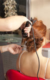 Wedding day. Bride having hairdo on her wedding day Royalty Free Stock Photography