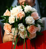 Wedding Day. Wedding bouquet and smiling bridal Royalty Free Stock Photos