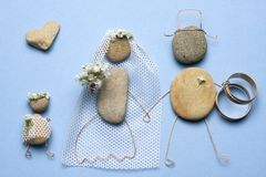 Wedding day. Happy couple (made from pebbles Royalty Free Stock Photo