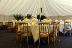 Wedding day banquet tent stock photography