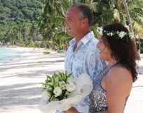 Wedding day on the beach Royalty Free Stock Photo