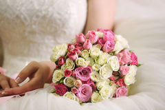 Wedding day. And  beautiful bouquet with roses, wedding card Stock Photo
