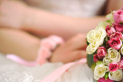 Wedding day. And  beautiful bouquet with roses, wedding card Royalty Free Stock Photography