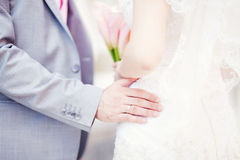 Wedding day. Beautiful bride and groom in special day Royalty Free Stock Photo