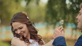 Wedding day. A beautiful and happy couple blowing dandelion on a green meadow. Wedding day. A beautiful and happy couple blowing dandelion on a green meadow stock video