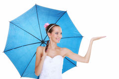 Wedding day. Bride with blue umbrella isolated Royalty Free Stock Photo