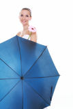 Wedding day. Bride with flower and umbrella isolated Stock Image