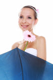 Wedding day. Bride with flower and umbrella isolated Royalty Free Stock Photo