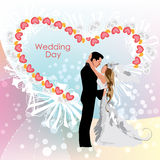 Wedding day, bride and groom. Vector illustration vector illustration