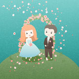 Wedding day. The bride and groom. Marrying nature Stock Photography