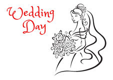 Wedding day card template with young bride Stock Image