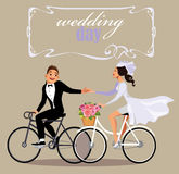Wedding day, cartoon bride and groom at bicycle, fun couple Stock Images