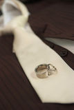 Wedding day. Close up photo of wedding wedding rings and grooms tie Stock Photography